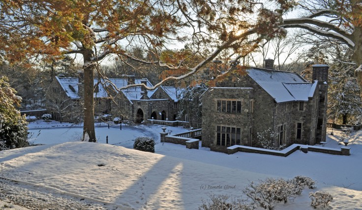 Mansion in Snow at Ridley Creek State Park by Pamela Cloud