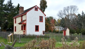Historic Milltown/Hickman Plank House in East Goshen with outhouse.