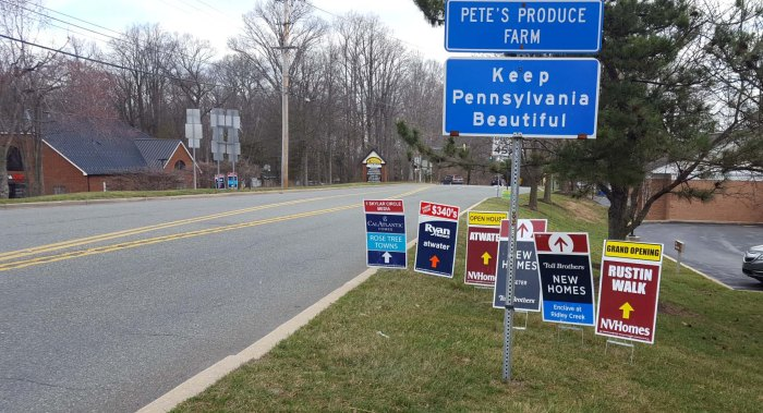 New home signs Westtown, Pa.